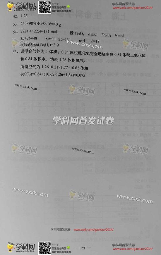 2014年上海高考化学试题及答案