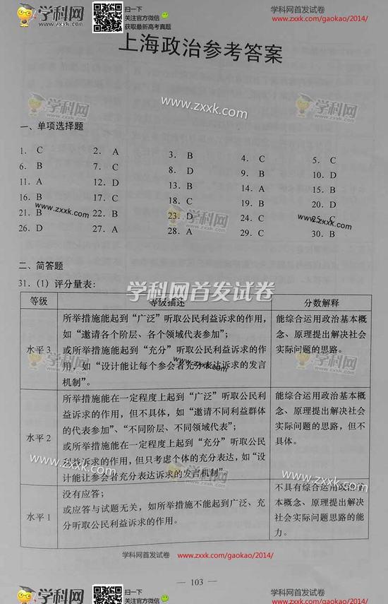 2014年上海高考政治试题及答案