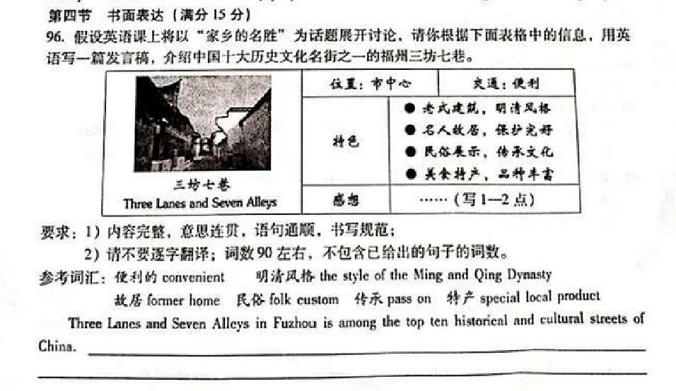 2014年福州中考英语名胜家乡:作文的题目被高中作弊开除图片