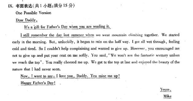 英语作文,写给父亲的信
