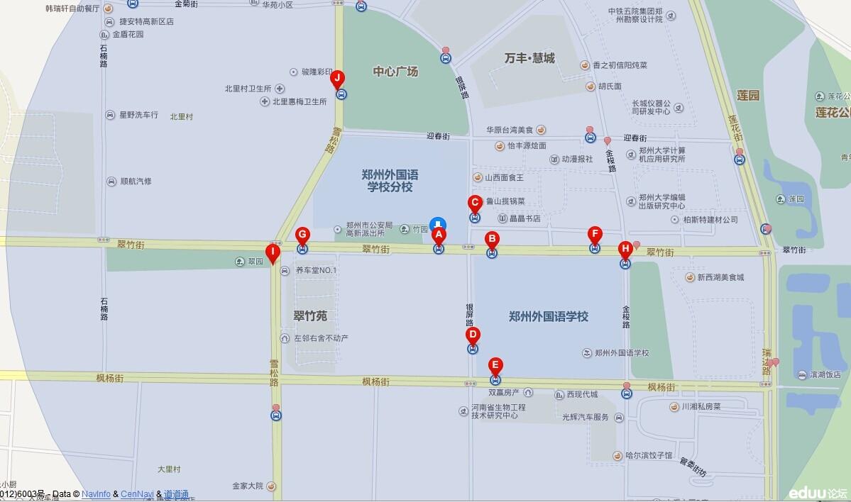 2014年郑州枫杨外国语学校小升初考点及路线图图片