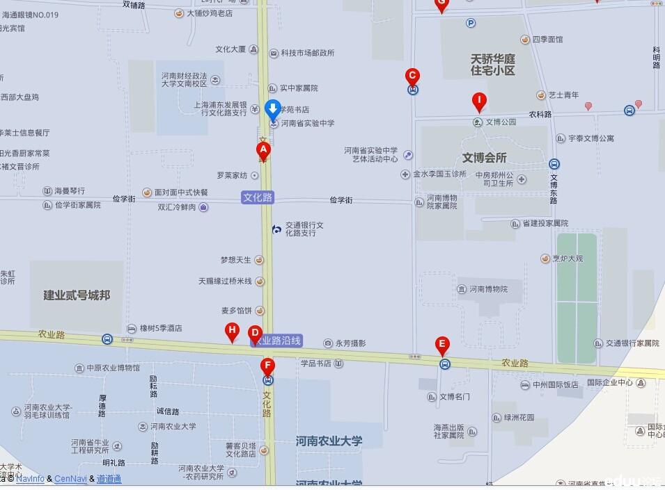 2014年郑州省实验文博学校小升初考点路线图