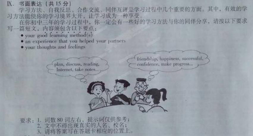2014年山西中考英语作文题目:学习方法分享