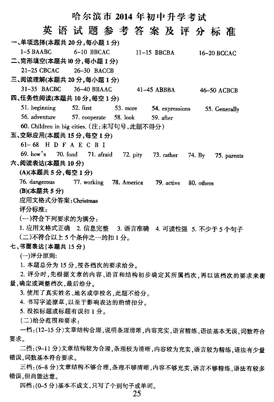 2014年黑龙江哈尔滨中考英语真题试题答案(图片版)