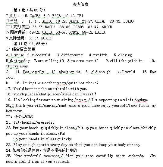 2014年贵州安顺中考英语真题试题答案(Word版)