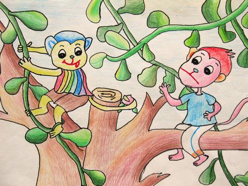 儿童双语寓言故事:调皮的猴子