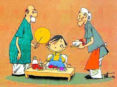 奶奶吃饭简笔画