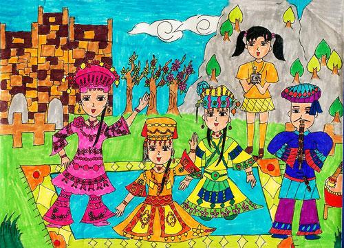 民族团结一家亲画图片 56民族团结一家亲的画 民族团结一家亲 4