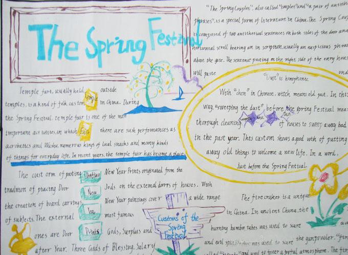 春节习俗手抄报:the spring