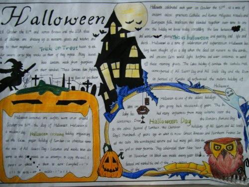 万圣节英文手抄报:halloween day_英语网