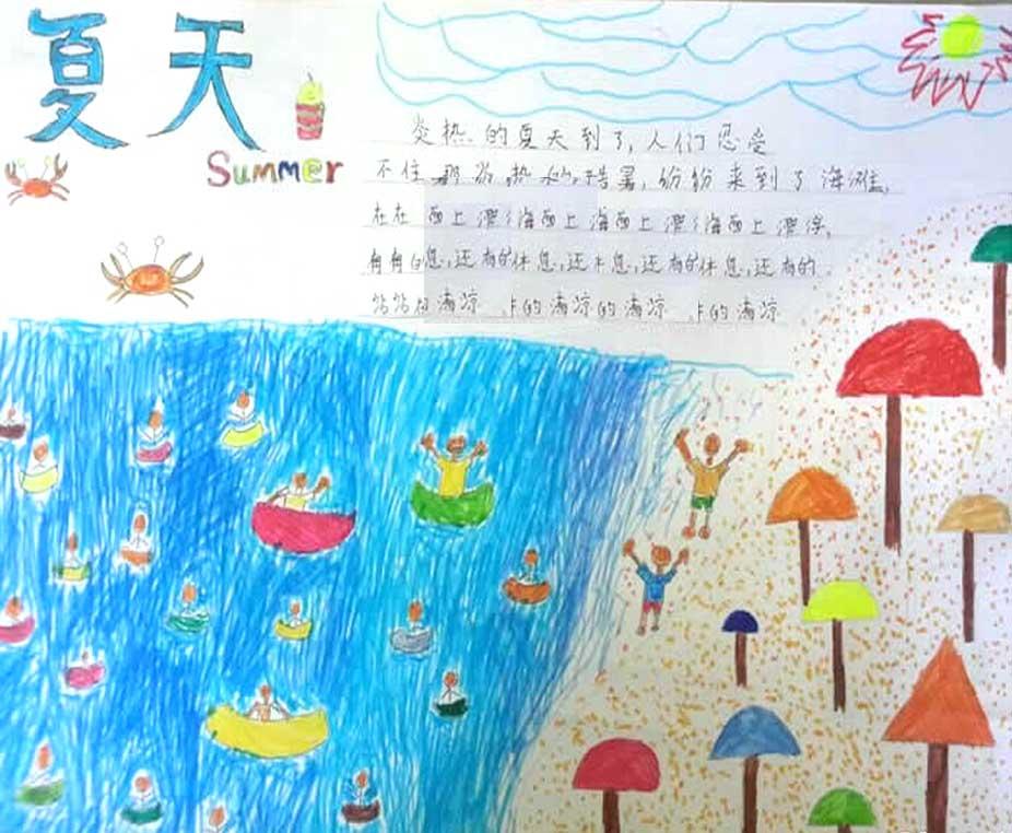 快乐夏天手抄报图片 夏天