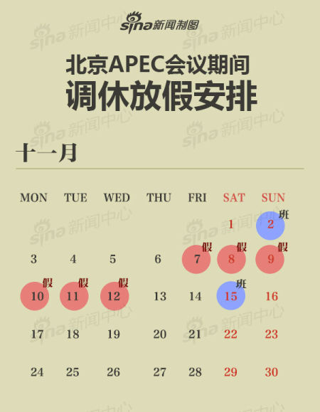 北京apec期间放假6天