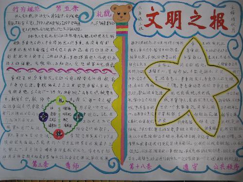文明礼仪手抄报图片:小学生文明礼仪