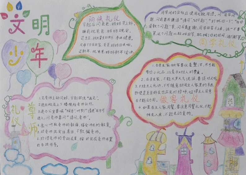文明礼仪手抄报图片:中学生文明礼仪