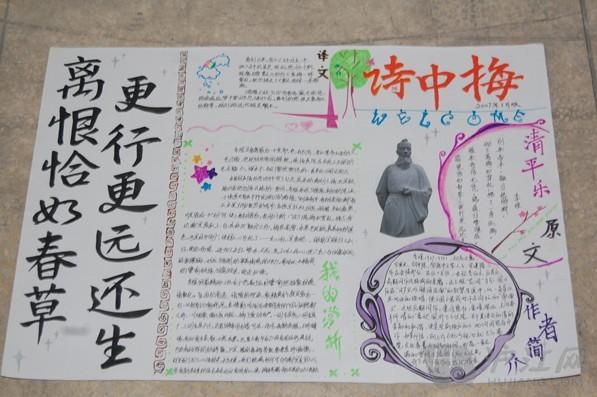 有关唐诗 宋词 的 手抄报 图片 诗中梅