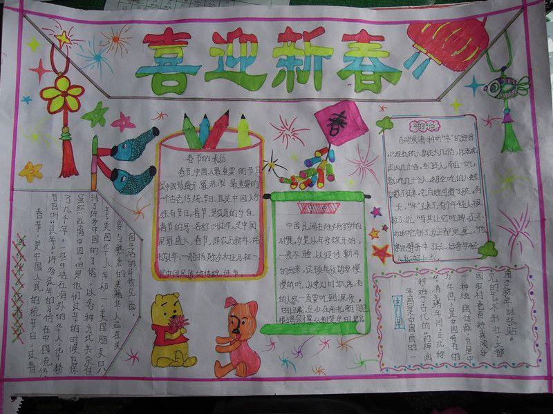小学生春节手抄报内容:喜迎新春