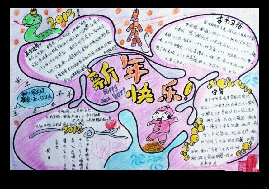 关于春节的手抄报图片 新年快乐