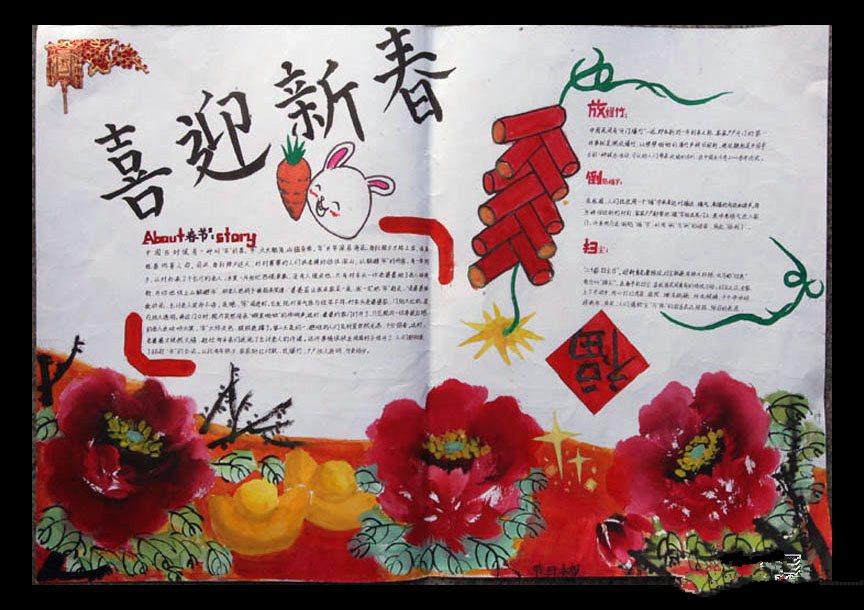欢庆春节手抄报图片:喜迎春节