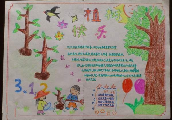 植树节手抄报的图片 植树快乐图片