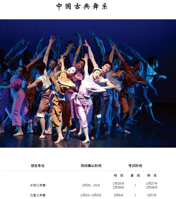 初试:(1)中国古典舞剧目表演(自备音乐图片
