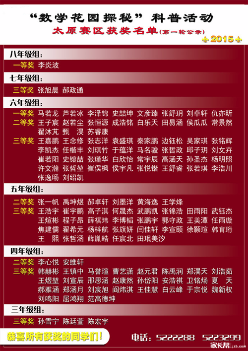 2015太原迎春杯各年级获奖名单