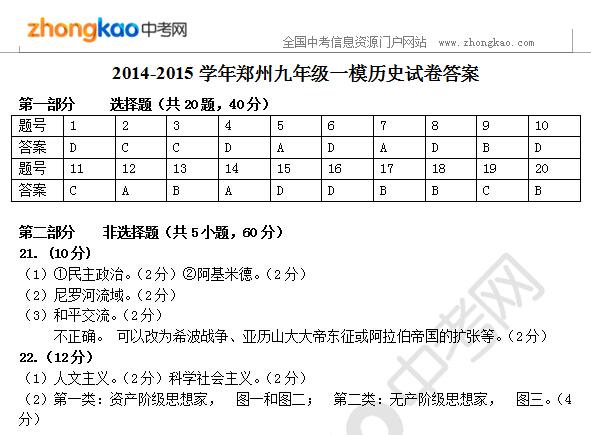 2014-2015学年郑州九年级一模历史试卷答案