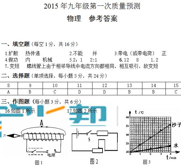 2014-2015年郑州九年级一模物理答案
