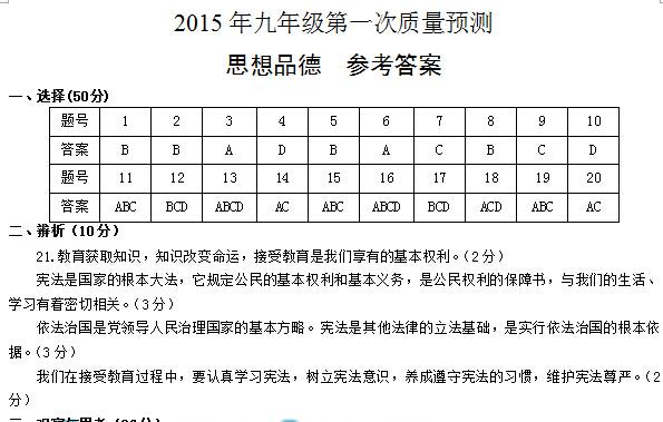 2014-2015郑州九年级一模思想品德答案