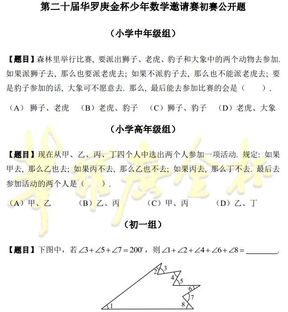 2015太原第二十届华杯赛考前公开题