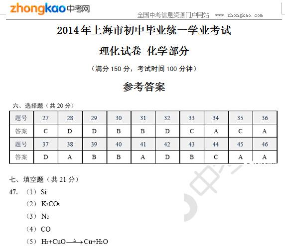 2014年上海市中考化学试题答案