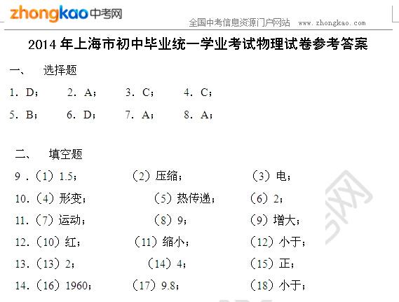 2014年上海市中考物理试题答案