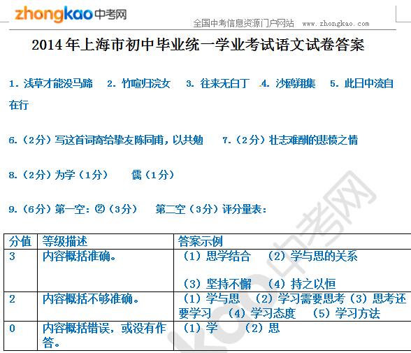 2014年上海市中考语文试题答案