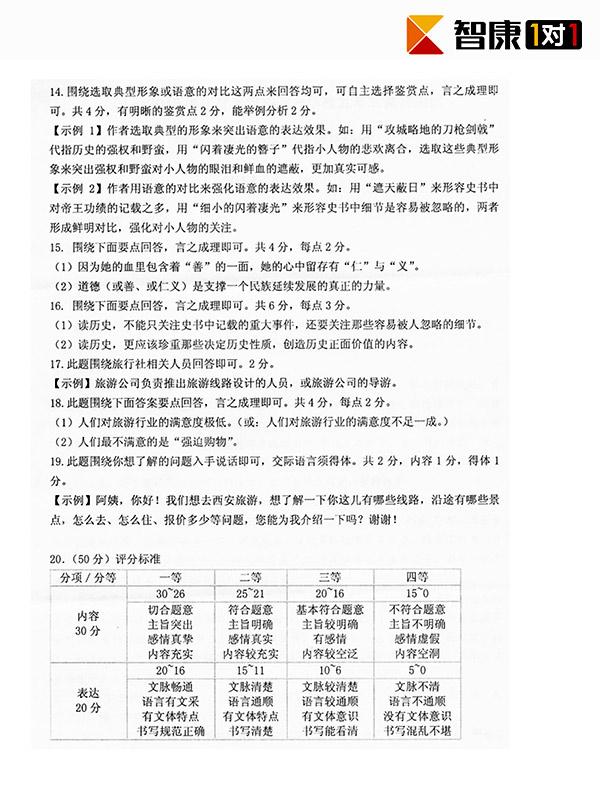 2013年武汉四月调考语文试题答案