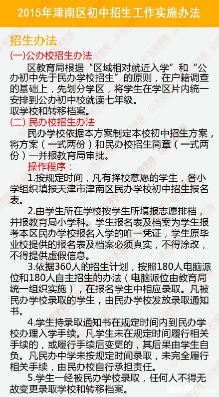 2015天津津南区小升初就近入学实施办法
