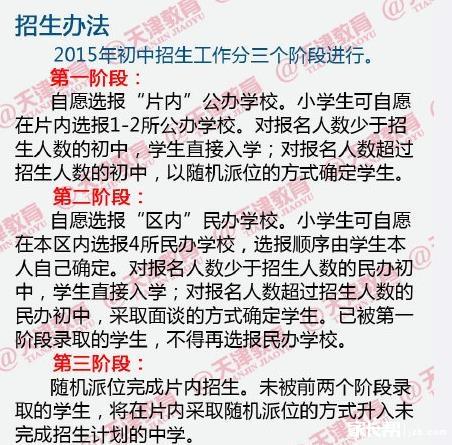 2015天津南开区小升初就近入学实施办法