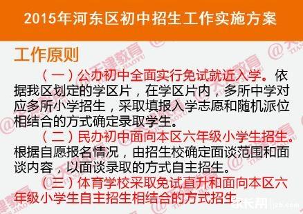 2015天津河东区小升初就近入学实施办法