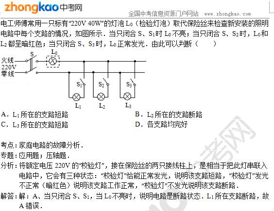 2015郑州中考物理专题讲解:家庭电路的故障分析