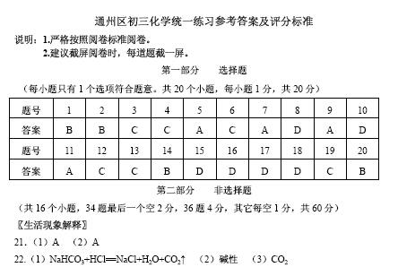 2015北京通州初三一模化学试题答案