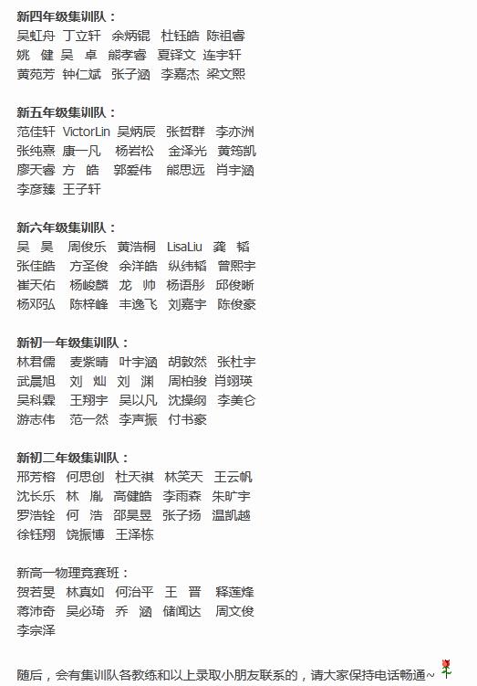 深圳集训队选拔考试录取名单