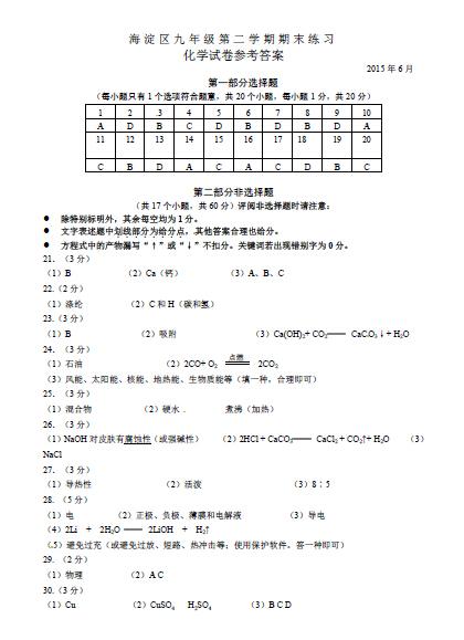 2015北京海淀区中考二模化学试题