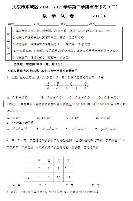 2015北京东城区中考二模数学试题