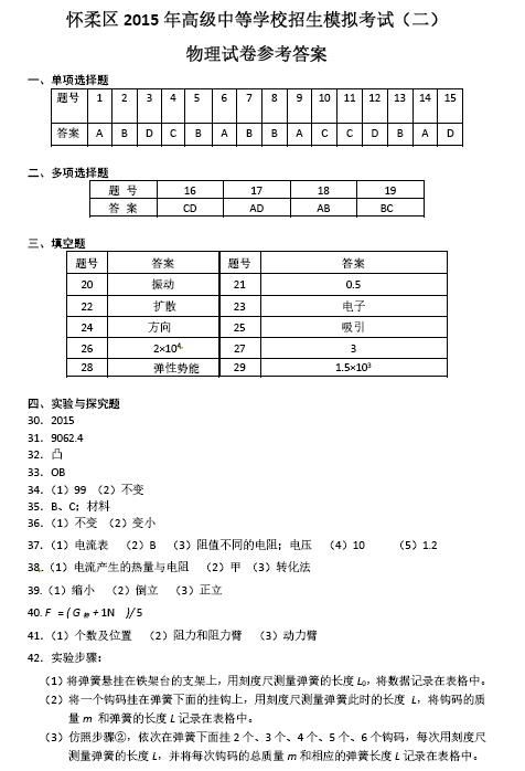 2015北京怀柔中考二模物理试题答案