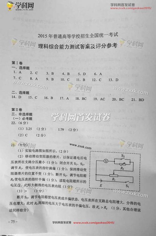 2015年广西高考理综试题及答案