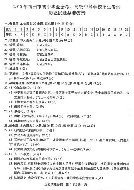 2015福州中考历史真题答案(图片版)