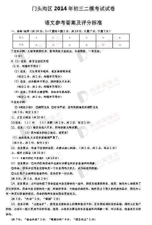 2015北京门头沟区中考二模语文试题答案