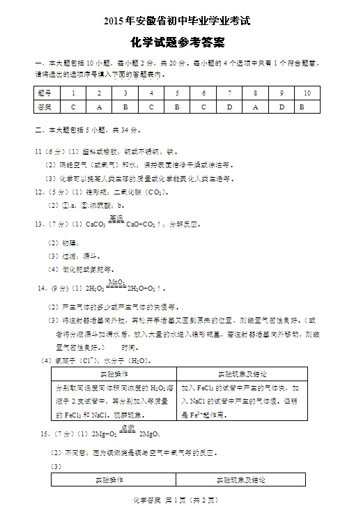2015安徽中考化学试题答案公布(图片版)