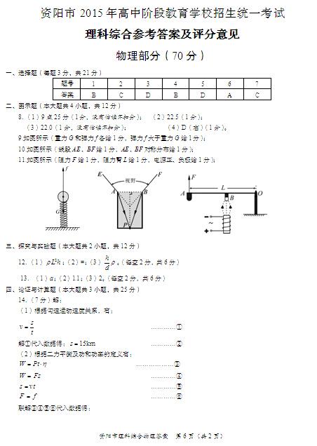 2015资阳中考物理试题答案公布(图片版)