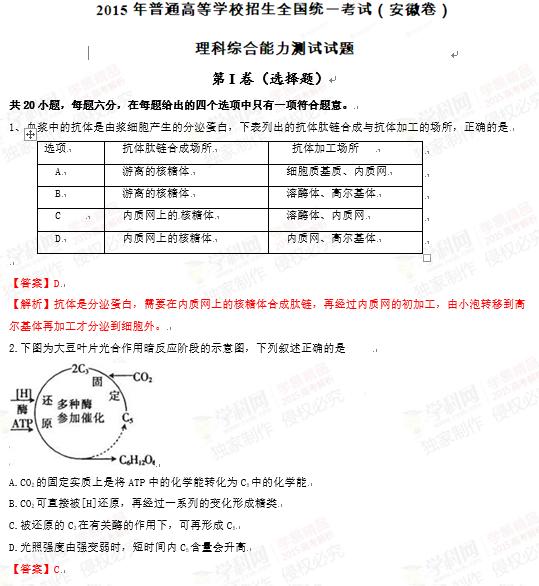 2015年安徽高考理综试题答案及解析