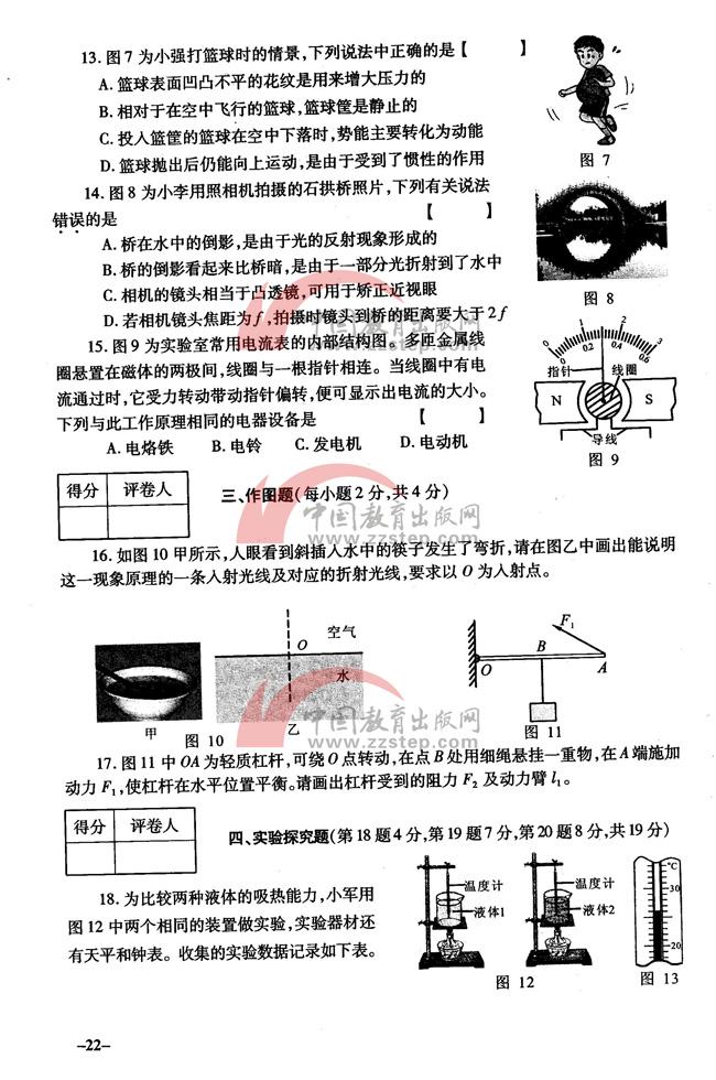 2015河南省中考物理试题及答案高清版 郑