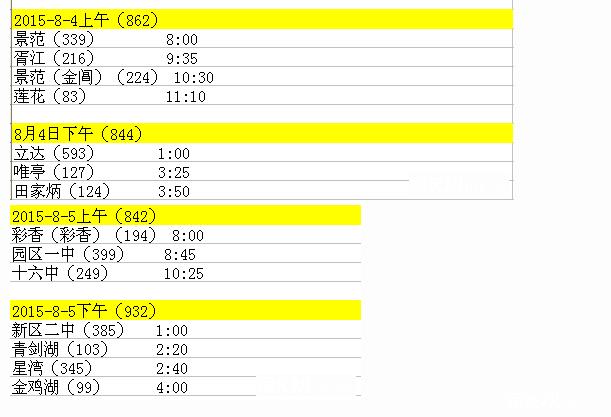 2016年苏州市区各校中考游泳考试时间安排